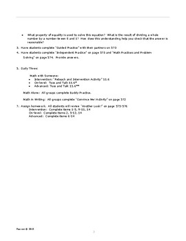 Envisions Grade 6 TOPIC 11 Lesson 11.6:  FInd the Whole Lesson Plans