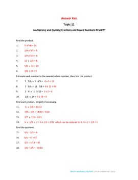 Envisions Math Topic 11 (5th Grade)