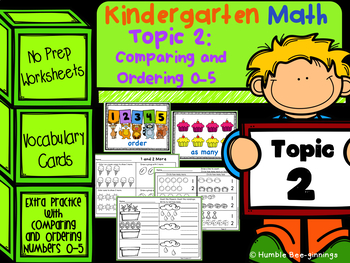 Kindergarten Math Topic 2 - Comparing and Ordering 0 to 5