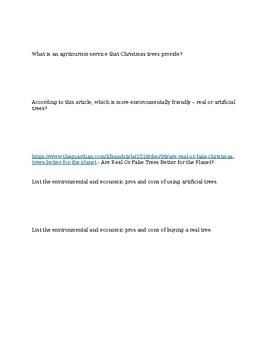 Envrionmental Science Christmas Web Quest