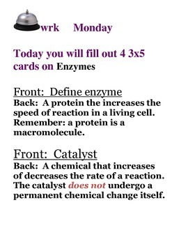 Catalysts and Enzymes Bellwork for the Week