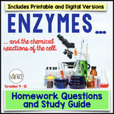 Enzymes, Catalysts, Chemical Reactions of Cells Homework /Study Guide