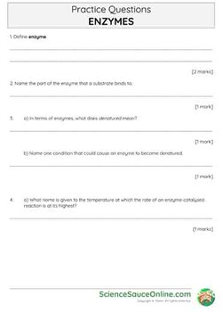 Enzymes - Handout and practice questions