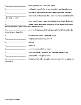 Enzymes and Vitamins Quiz or Worksheet for Biological Chemistry