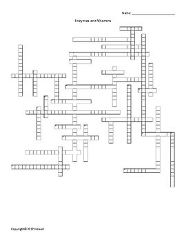 Enzymes and Vitamins Vocabulary Crossword for Biological Chemistry