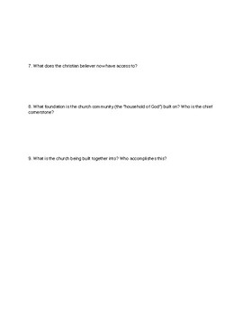 Ephesians Chapters 1-2 Comprehension Worksheets