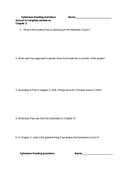 Ephesians Chapters 3-4 Comprehension Questions