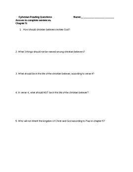 Ephesians Chapters 5-6 Comprehension Questions