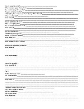 Ephesians Fill in the blank worksheet