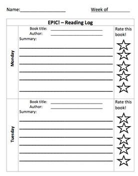 Epic! App Reading Log