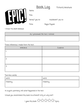 Epic Book Log for Intermediate Students