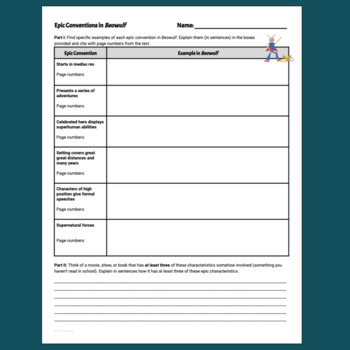 Epic Conventions Worksheet