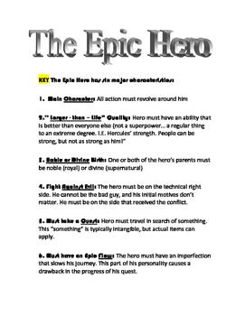 Epic Hero Characteristics, Exercise, and Key(s) - Used wit