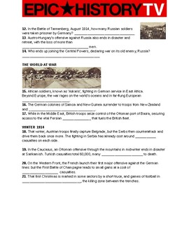 Epic History TV- World War I video guide questions. 1914-1918 and Russian Rev.