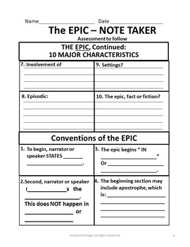 Epic PowerPoint Grades 6-8, 9-12, With Notetaker, Quiz and KEY. Fully Complete