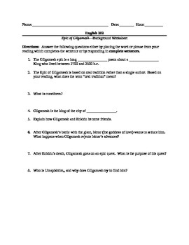 epic of gilgamesh complete worksheet packet and test by adam kershaw epic of gilgamesh complete worksheet packet and test