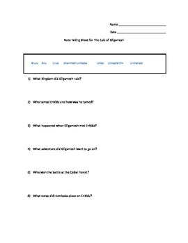 Epic of Gilgamesh Questions