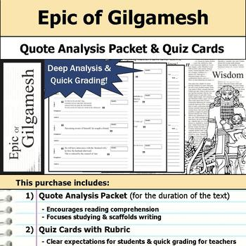 Epic of Gilgamesh - Quote Analysis & Reading Quizzes