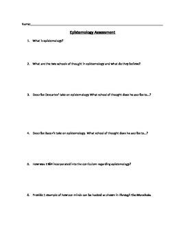 Epistemology Assessment