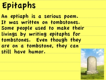 Epitaph Poetry - Halloween Writing Fun