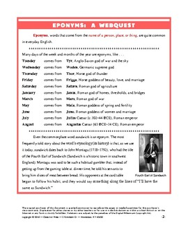 Vocabulary Activities: Eponyms: A Webquest   (13 Pages, Answer Key Included, $6)