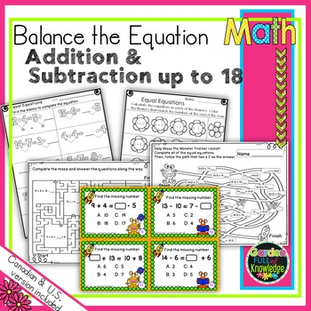 Balance the Equation - Equal Equations Adding and Subtracting up to 18