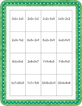 Equal Equations Bingo