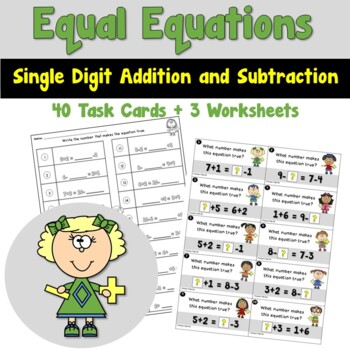 Equal Equations using Single Digit Addition and Subtraction Task Cards