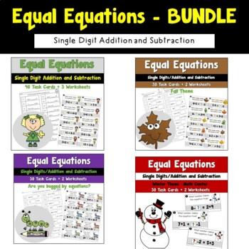 Equal Equations Single Digits Bundle
