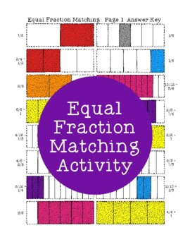 Equal Fraction Matching Activity PDF Printable Fractions E