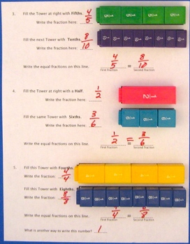 Equal Fractions on Number Lines with Fraction Towers, Updated