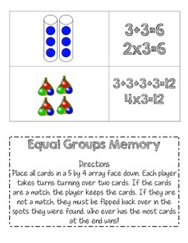 Equal Groups Memory Game