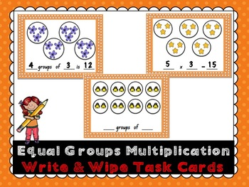 Equal Groups Multiplication Write and Wipe Cards