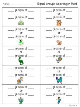 Equal Groups Scavenger Hunt