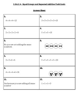 Equal Groups Task Cards 2.OA.C.4
