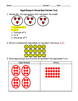 Equal Groups and Arrays Quiz Version 2