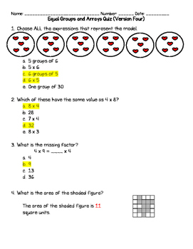 Equal Groups and Arrays Quiz Version 4