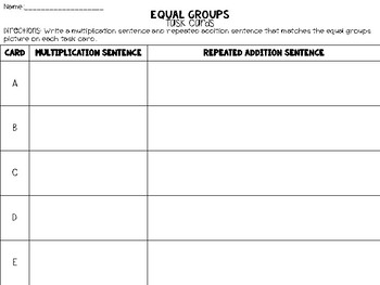 Equal Groups with Candy Bags Task Cards || Multiplication