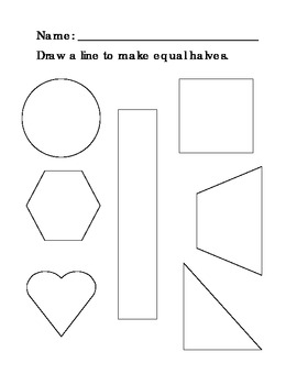 equal halves shapes worksheet by the scrappy penguin tpt. Black Bedroom Furniture Sets. Home Design Ideas