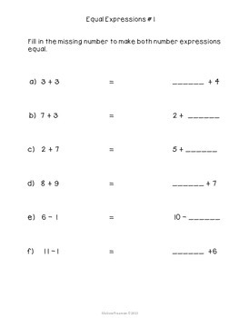 Equal Number Expressions