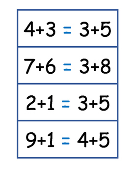 Equal Number Statements Single Digit Addition - Matching Addends