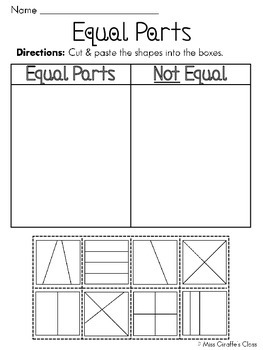 Equal Parts of a Whole Fractions Worksheets