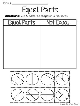 equal parts of a whole fractions worksheets by miss giraffe  tpt