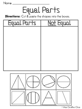 equal parts of a whole fractions worksheets by miss giraffe  tpt equal parts of a whole fractions worksheets