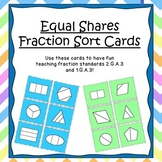 Equal Shares Fraction Cards- Halves, Thirds, and Fourths (K-2 Math Center)