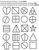 Equal Shares Practice / whole, halves, fourths
