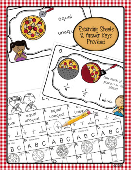 Equal Shares and Fractions Math Review Activity for First & Second Grade