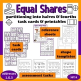 Equal Shares - partitioning into halves/fourths task cards & printables (set a)
