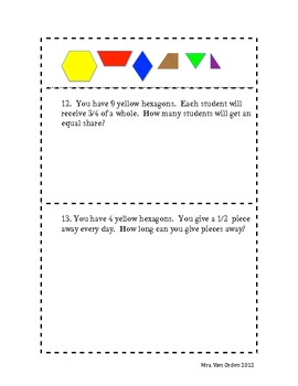 Equal Sharing Word Problems with Pattern Blocks; Fractions and Division 5.NF.3