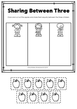 equal sharing splitting numbers introduction to division worksheets. Black Bedroom Furniture Sets. Home Design Ideas